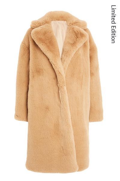 Stone Faux Fur Coat